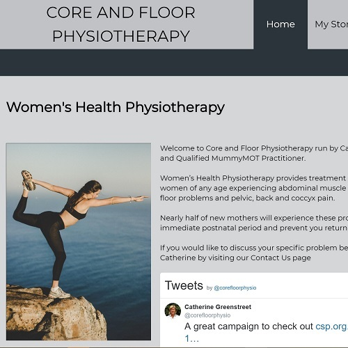 screenshot of core and floor physiotherapy