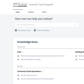 A screenshot of our knowledge base. It provides a useful helping hand for a variety of issues